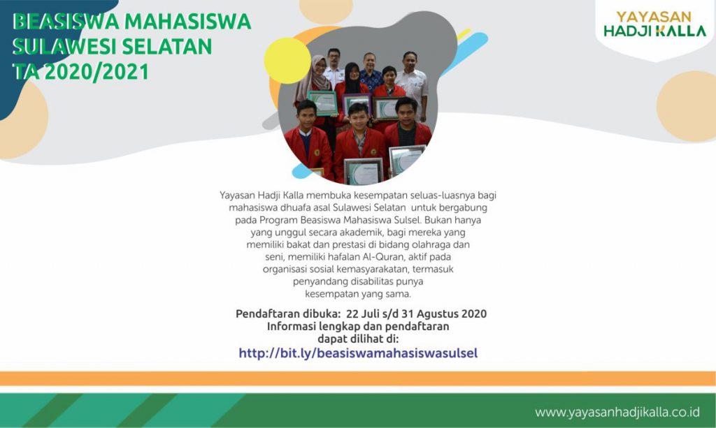Beasiswa Mahasiswa sulawesi selatan