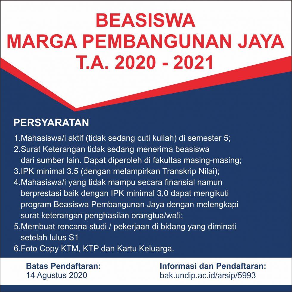 Beasiswa Pembangunan Jaya 2020-2021