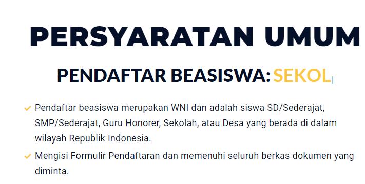 Persyaratan Beasiswa Peduli Indonesia 2020