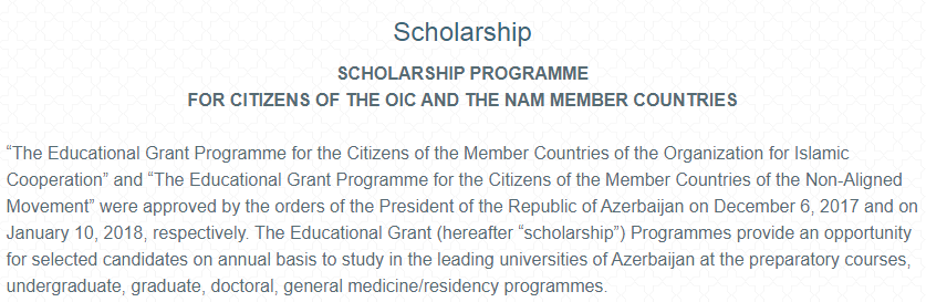 Government of Azerbaijan Scholarships