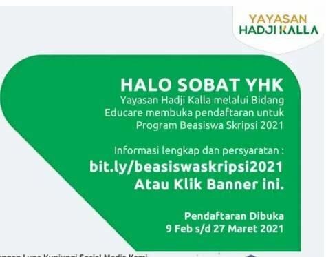 Beasiswa Skripsi beasiswa Yayasan Hadji Kalla