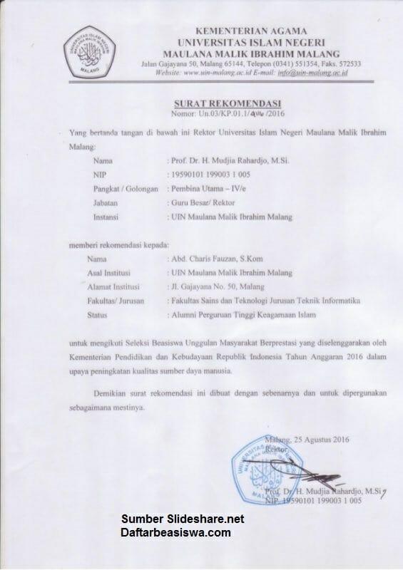 Contoh Surat Rekomendasi 2