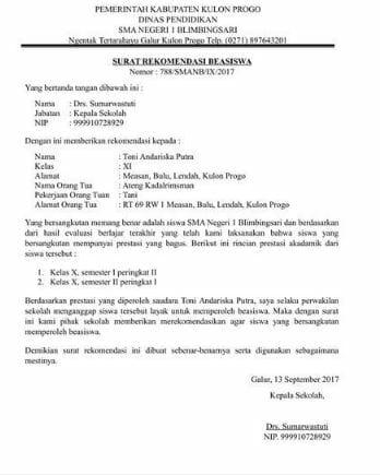 Contoh Surat Rekomendasi 3