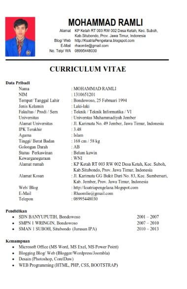 contoh personal resume untuk beasiswa bank indonesia