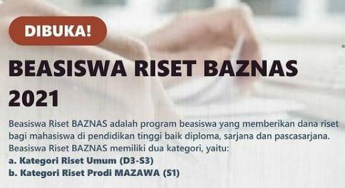 Beasiswa Riset Baznas 2021 2022